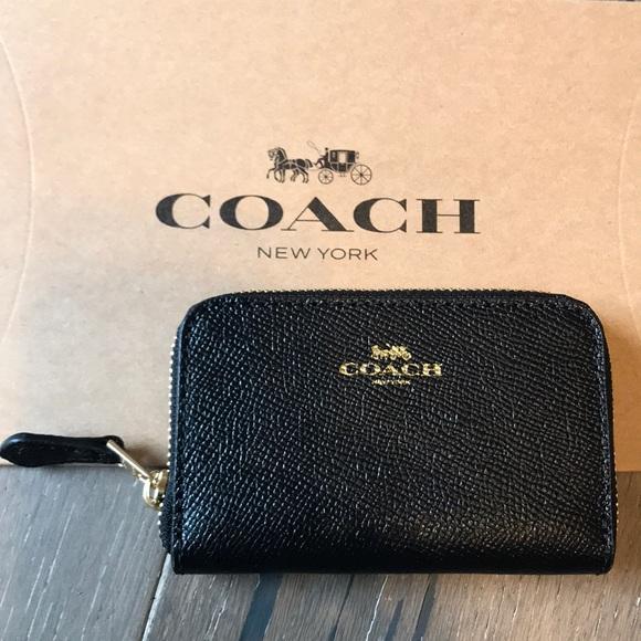 Coach Handbags - {COACH} Cardholder. Black w/ gold detail.